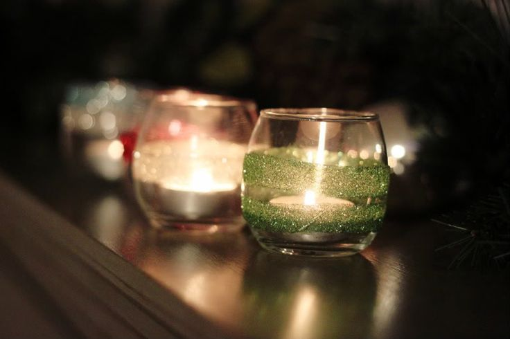 DIY glitter candle holder. All the materials can be found at the dollar store if you're looking to keep it cheap :)