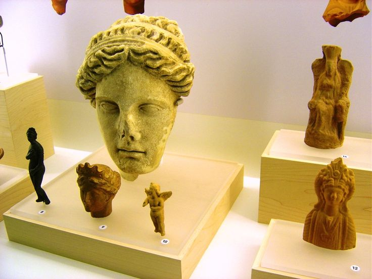 Aphrodite 100-200 AD bronze and terracotta 300-1 BC. Rear head of a leading lady from the province of Burdur 125-135 AD, right Isis (12) and Kibele (14)  from Sagalassos, Turkey