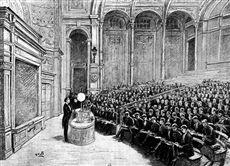 Alfred Cornu (1841-1902), physicien français, donnant un cours dans l'amphithéâtre de physique de l'Ecole polytechnique. Paris, 1884. Gavure d'après un dessin de Q. de Beaurepaire. B.N.F.