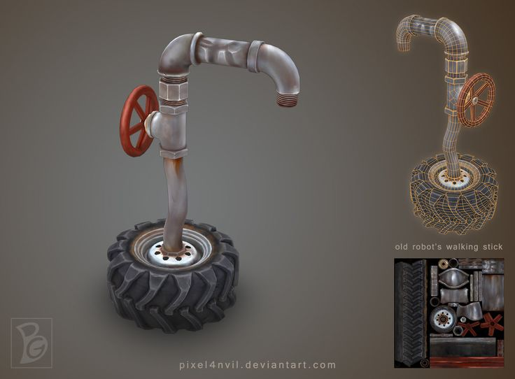 Old Grumpy Robot's Walking Stick by Pixel4nvil.deviantart.com on @DeviantArt