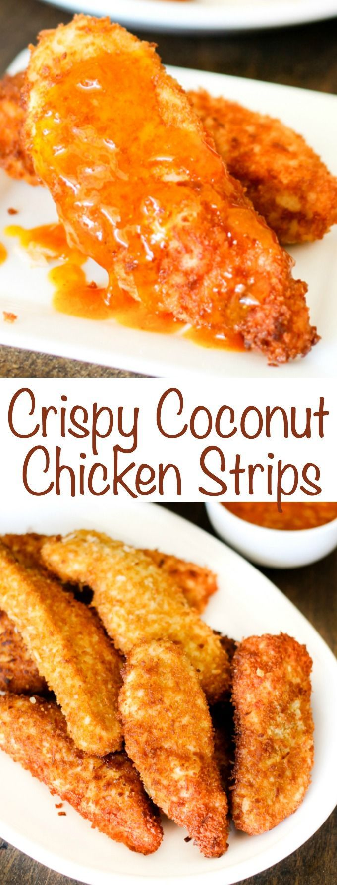 Crispy Coconut Chicken Strips with Peach Curry Sauce are a great dinner solution that comes together in just a few minutes.