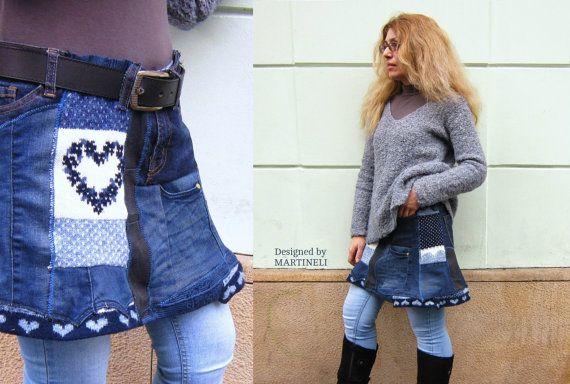 Recycled Denim Skirt Patchwork Denim Boho Denim Skirt by MARTINELI