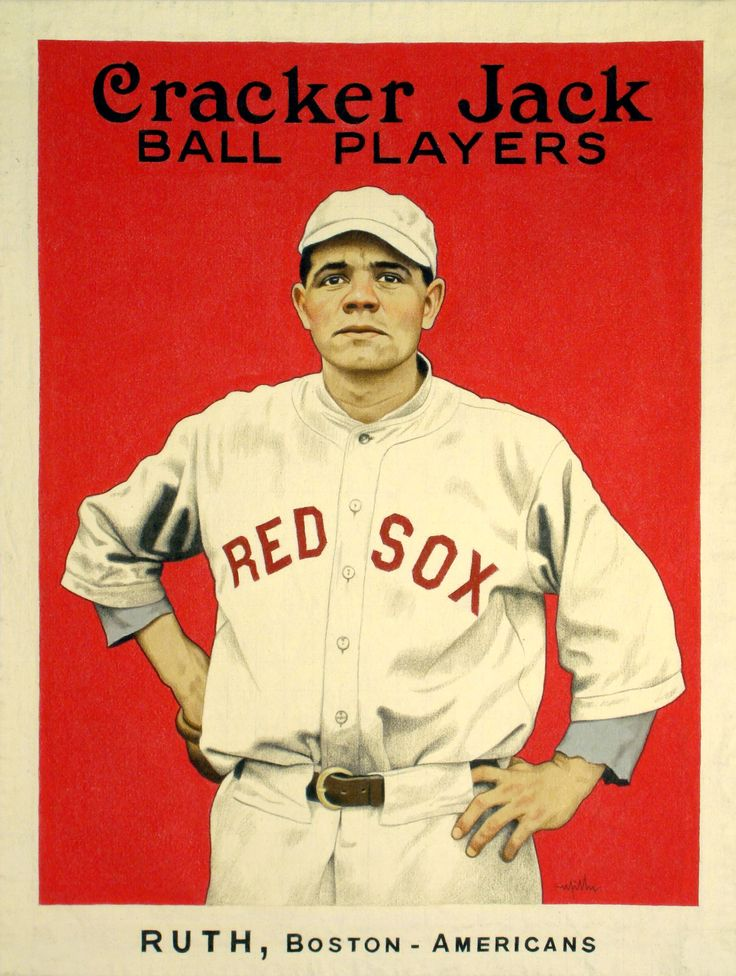Babe Ruth Cracker Jack baseball card early in his career with the Red Sox…