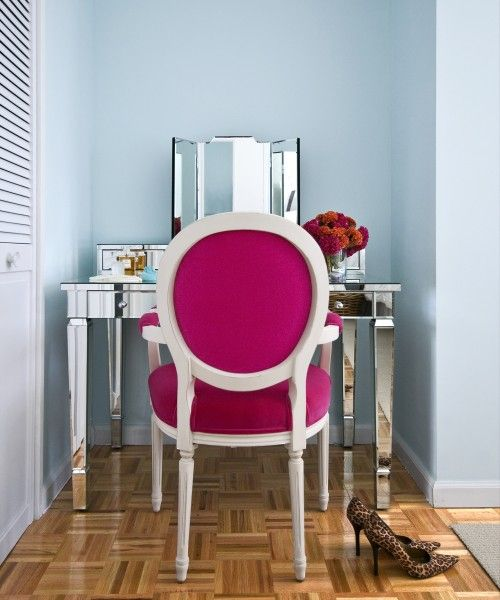 .: Decor, Interior, Ideas, Vanities, Pink Chairs, Space, Dressing Table, Bedroom