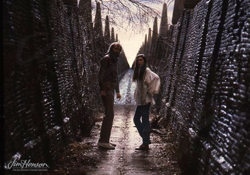 Jim Henson directing Jennifer Connelly on the Labyrinth set.