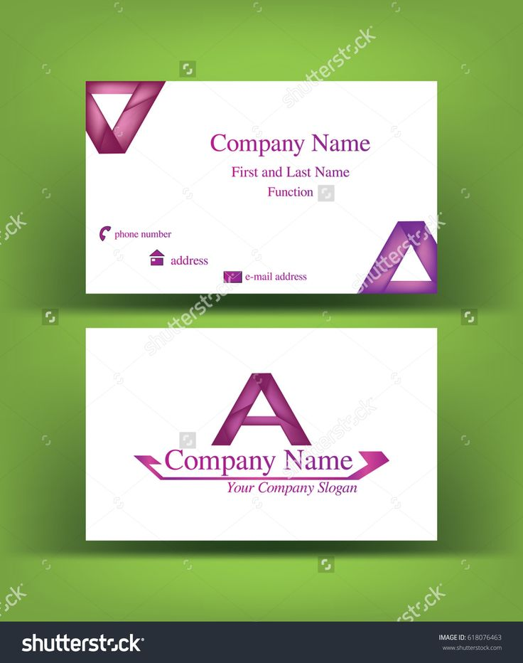 Elegant #business #card with abstract #purple shaded #A #letter #logo design, on green background
