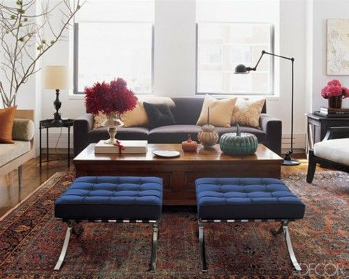 persian rug + slate sofa