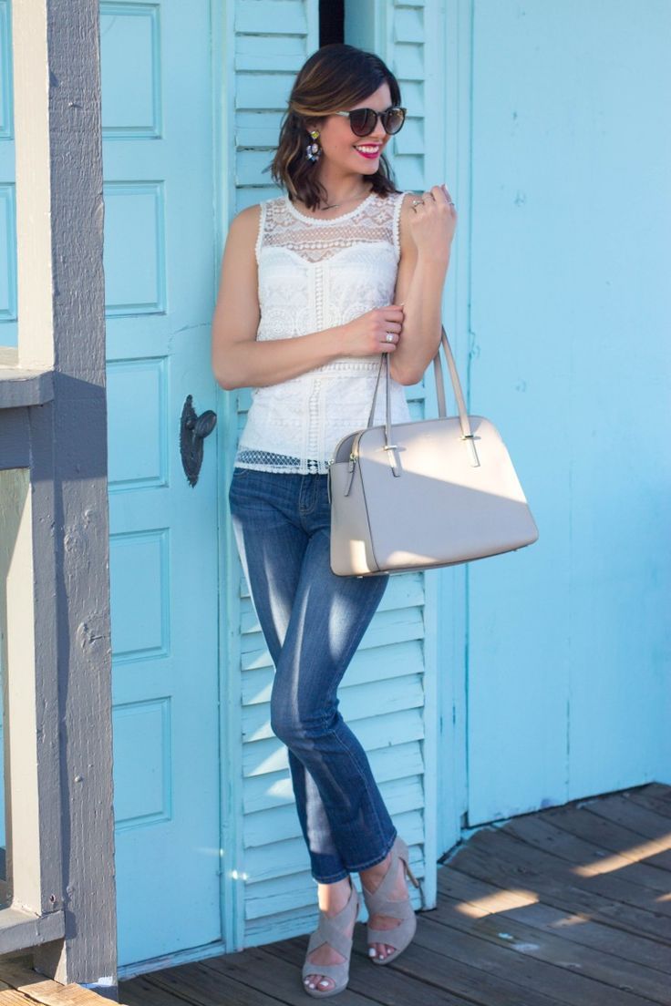 White Lace Top, Jeans, and Heels