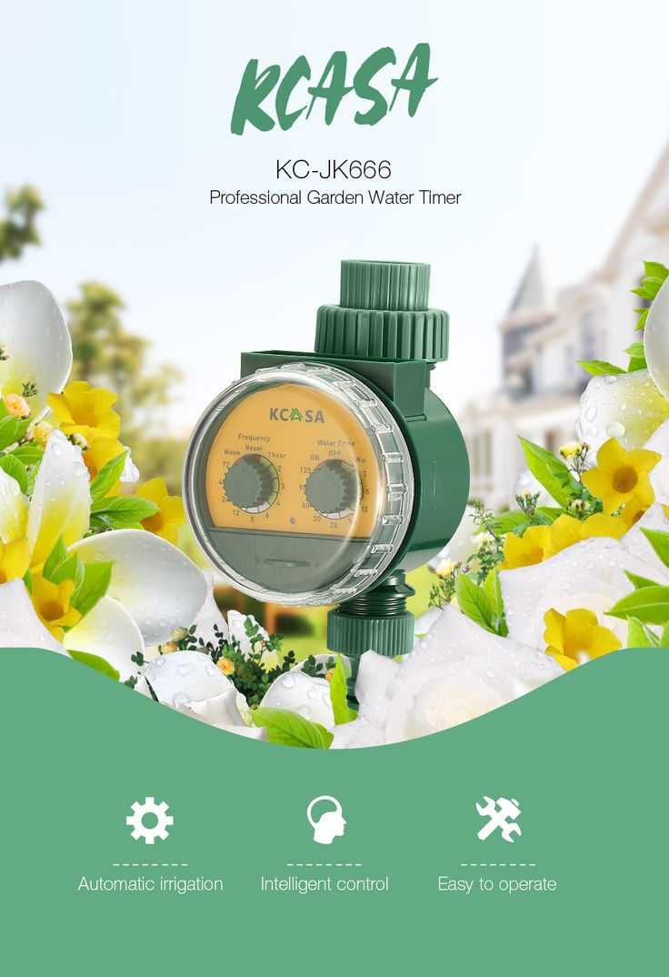 KCASA KC-JK666 Garden Automatic Watering Timer Ball Valve Rainfall Monitoring Induction Timer