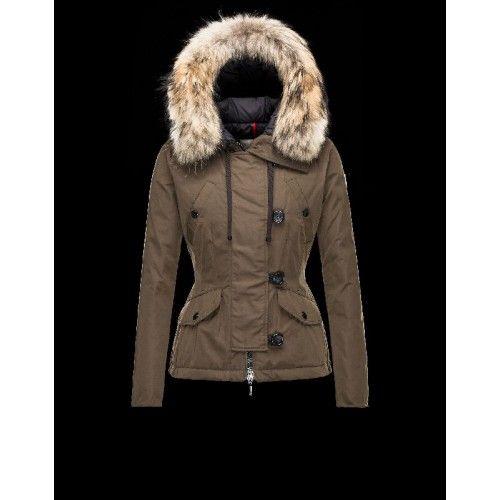 Moncler AYROLLE Turtleneck Detachable Military Groen Donsjas Cotton/Racoon  Dames 41456955TN