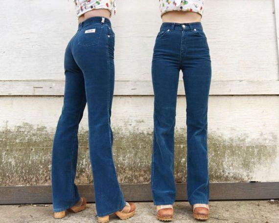 Vintage 60s Levi Strauss & Co High Waisted Blue Corduroy Stretch Flare Slacks Pants 24 x 31.5
