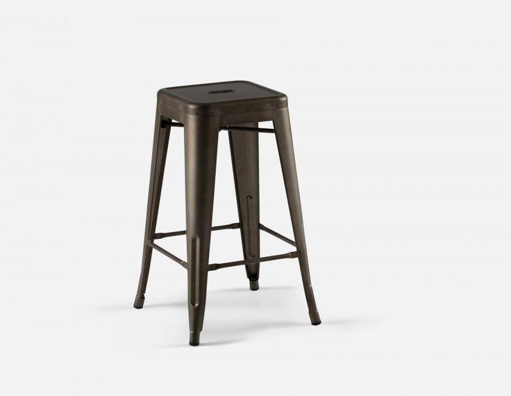 HUDSON - Iron counter stool 26'' - Graphite
