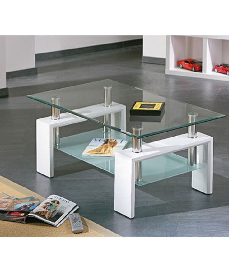 Superb Alva White Finish Coffee Table With Glass Top U0026 Frosted Undershelf .  This Coffee Table Is Beautifully Crafted In A Rectangle Shape And A Clear  Safety ...