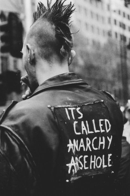 Punk guy with mohawk, it's called anarchy arsehole