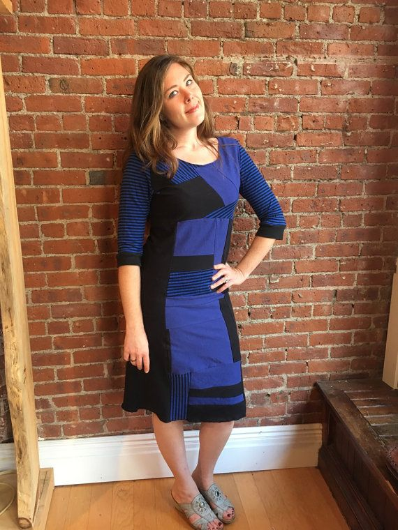 Patchwork dress- upcycled eco friendly- black and royal blue- striped- recycled womens clothing- fall fashion - t shirt dress -