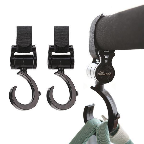 Rotating Buggy Clips Stroller Hanging Hook Pram Hook Stroll Buggy Bag Hook Holder Black for Pushchair Stroller Shopping Bag Handbag 4 Pack