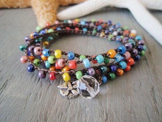 Multi color ganchillo wrap pulsera collar colgante de flor sol 'Summer Sol' plata, boho chic playa surfista colorido tropical