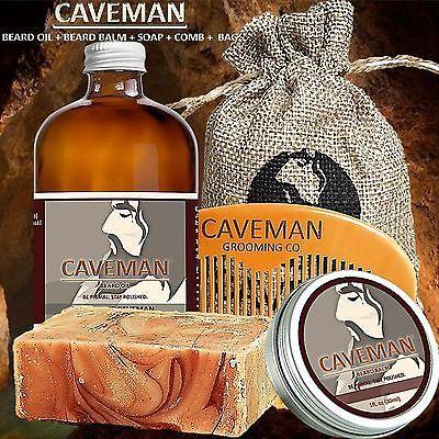 Hand Crafted Caveman® Beard Oil KIT + Beard Balm + FREE Comb + Soap + 15 Scents