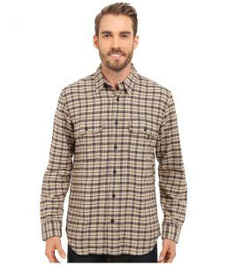 Filson Vintage Flannel Work Shirt (Cream/Black/Brown Tartan) Men's Clothing