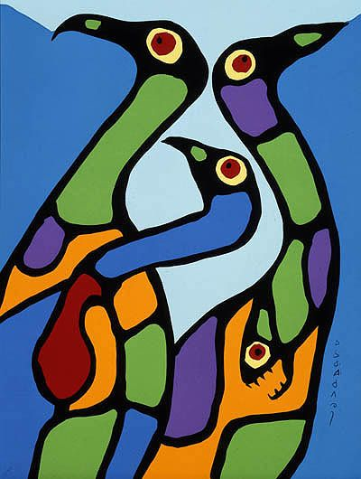 Canadian Modern Art - Composition with Loons - Norval Morrisseau