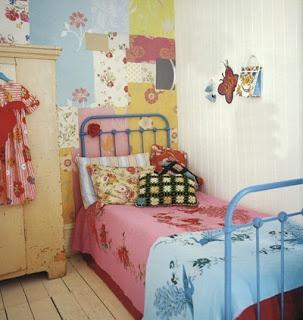 Habitacion vintage para adolescente  #bedroom #cama_de_caño #decoupage #wall
