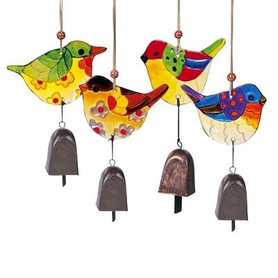 Painted Glass Bird & Metal Cow Bell Windchime Mobile
