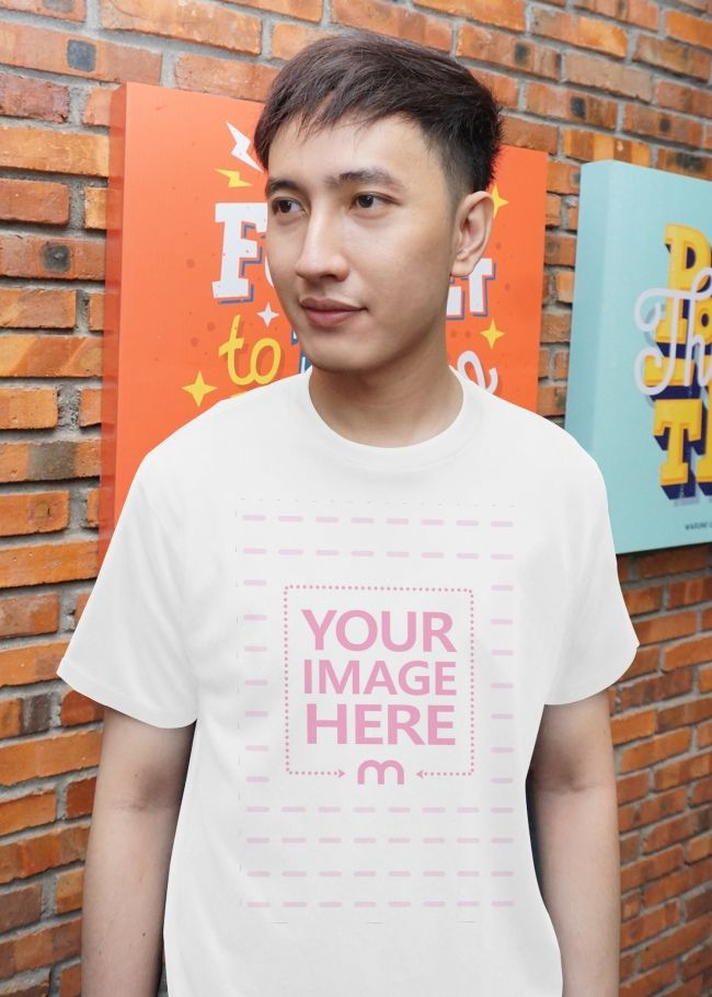 Download Front View Of A T Shirt Mockup Template Featuring A Man Posing To The Camera While Looking Into The Distance Clothing Mockup Poses Shirt Mockup