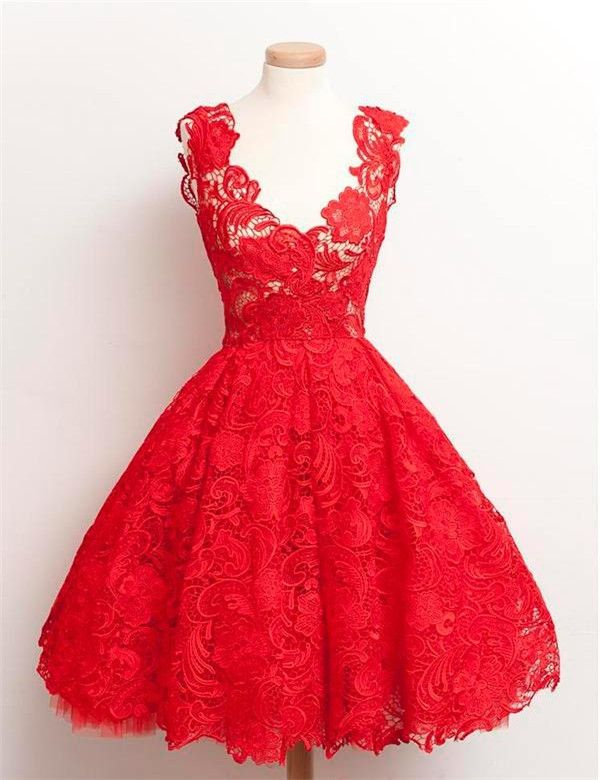 Red 1950′S Fashion Scoop Lace Ball Gown Knee-length Prom Dresses Evening Gowns,1950s prom dress,vintage prom dress,red prom dress,prom dress 2016,fashion dress