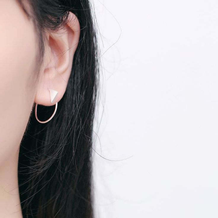 Simple 925 Sterling Silver Triangle Hoop Earrings Women Jewelry at Banggood