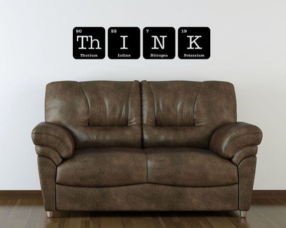 THINK Sign Wall Decal Vinyl Art Periodic Table Funny Elements Chemistry