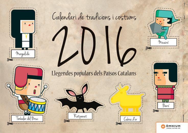Calendari 2016 de Tradicions i Costums - Òmnium Cultural: Llegendes populars dels PPCC. Coberta #recursos #escola #llegendes