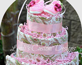 Paisley princesa bailarina pañal pastel, regalo único bebé, bebé niña pañal pastel, regalos de bebé rosa, ducha pastel centro de mesa