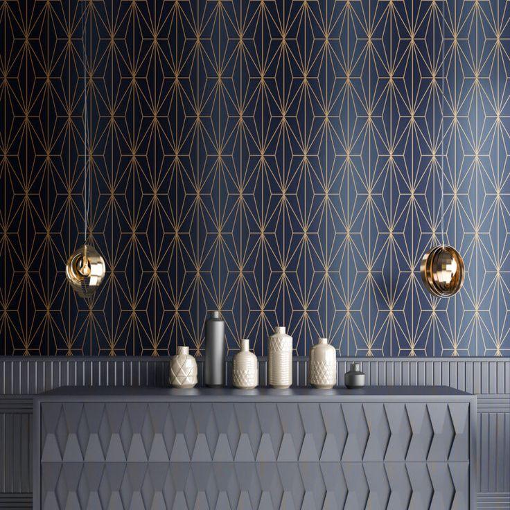 A stunning geometric metallic wallpaper design in blue