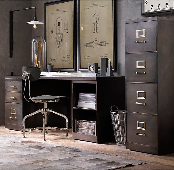 """RH's 1940S Industrial Modular Office 18"""" 4-Drawer File Cabinet :The clean, linear aesthetic of American industrial design, circa 1940, introduced highly functional furnishings to offices (and forward-thinking homes) across the country. That it has remained in continuous production ever since attests to its versatility, practicality and endurance. Our reproductions combine desktops and storage to maximize the space available, offering design flexibility and optimal surface area for multip..."""