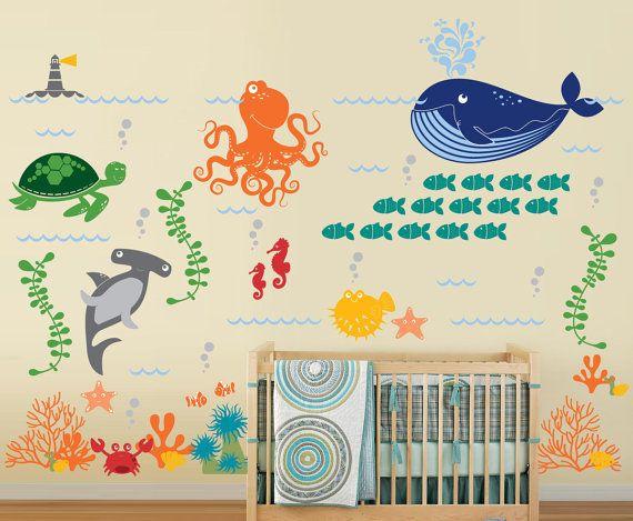 Ocean Friends  Under the Sea Nursery Vinyl Wall by InAnInstantArt, $140.00
