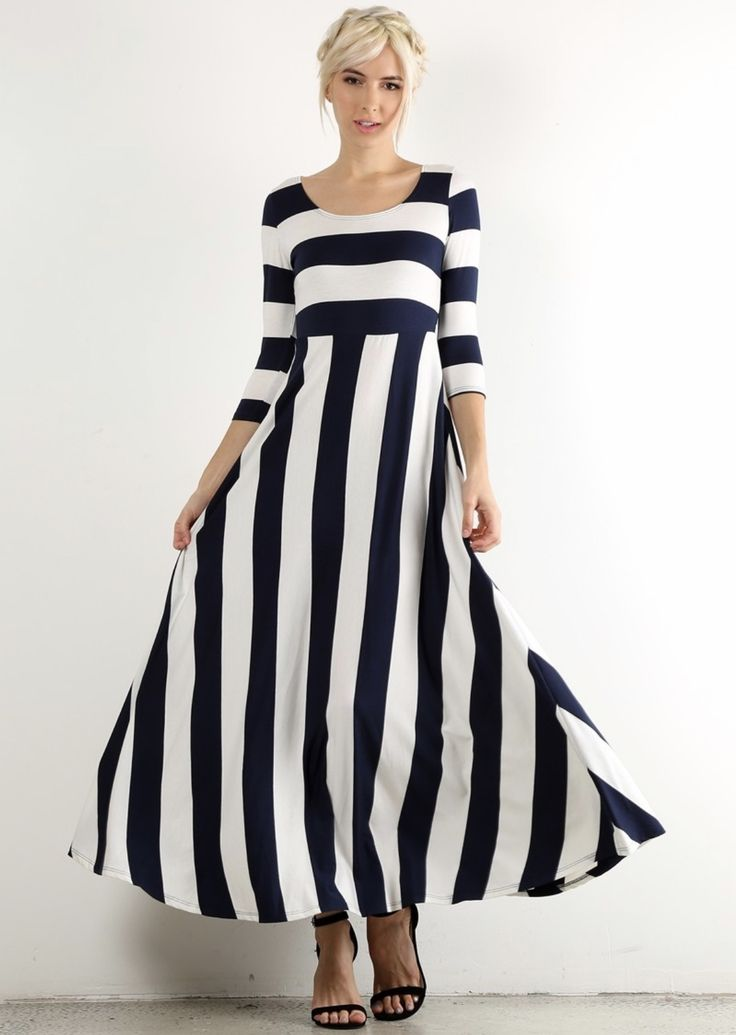 Navy White Striped Nautical Maxi Dress Shannasthreads.com