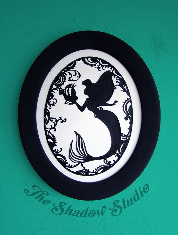 Under the Sea  Ariel and Flounder from The Little Mermaid Hand-Cut papercut silhouette art by TheShadowStudio