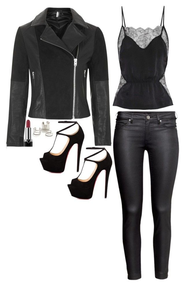 """""""Katherine Pierce Inspired Outfit"""" by daniellakresovic ❤ liked on Polyvore featuring Fleur du Mal, H&M, Marc, Talitha, Topshop and Jeweliq"""