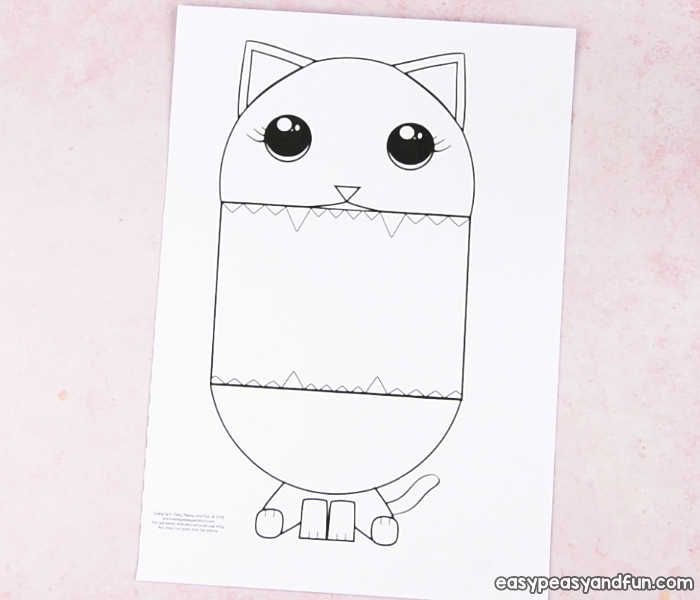 Surprise Big Mouth Cat Printable Puppets for kids Art
