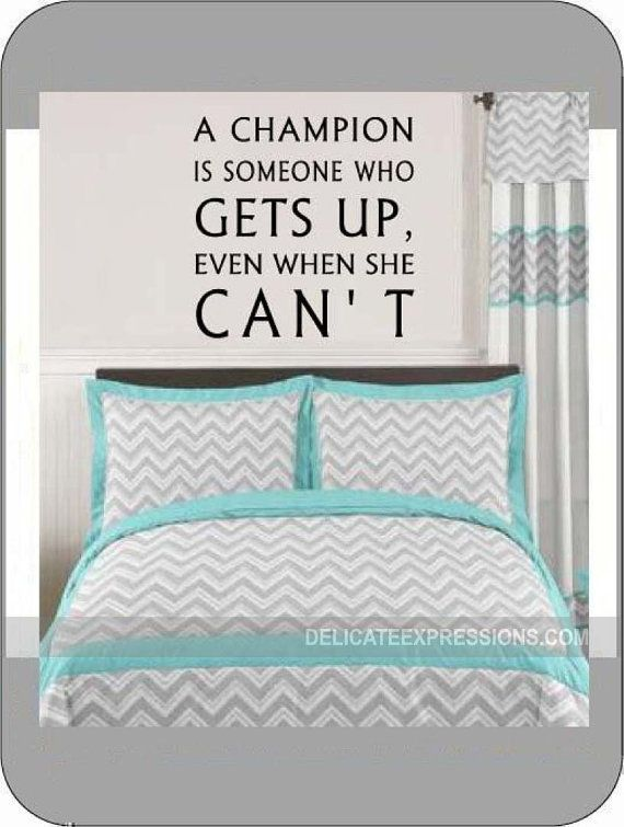 Girl sports wall quotes champion wall decal motivational wall decal