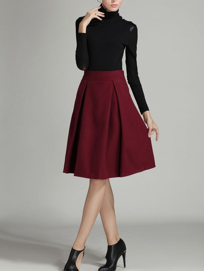 Shop Burgundy High Waist Midi Woolen Skirt online. SheIn offers Burgundy High…