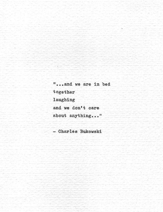 """Charles Bukowski Typewritten Quote """"..in bed together laughing.."""" Romantic Valentine Gift Vintage Typewriter Love Print Hand Typed Poetry"""