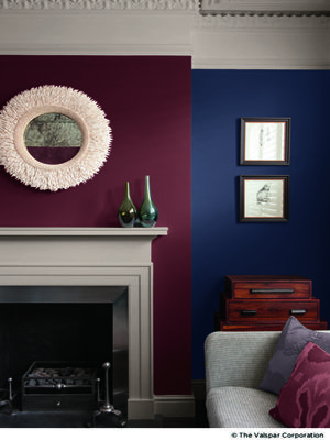 This palette of aged colors creates a deep, beautiful backdrop with Valspar Signature™ paint in La Fonda Midnight 4004-4C.   - CountryLiving.com