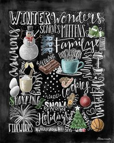 Winter Decor, Word Collage, Holiday Decor, Word Art, Chalkboard Art, Chalk Art, Winter Words, Christmas Decor, Subway Art, Happy Holidays