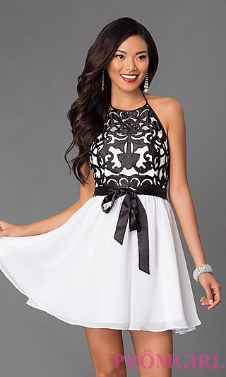 Short High Neck Halter Dress 7890300 at PromGirl.com