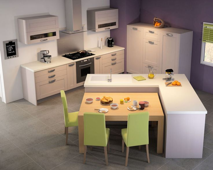 Cuisine design int ressant comme configuration mais for Ilot central et table a manger