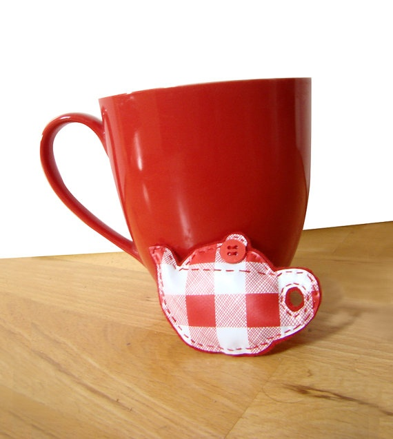 red and white teapot brooch