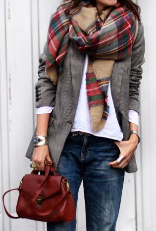 Grey blazer, white sweater, denim jeans, plaid scarf. Latest arrivals, new collection.