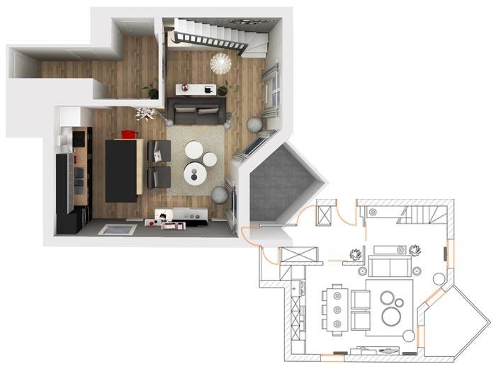 plan 2d et 3d pour l 39 am nagement d 39 une pi ce vivre et d. Black Bedroom Furniture Sets. Home Design Ideas