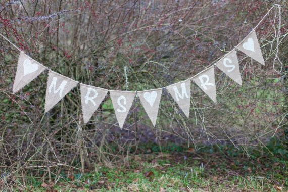 Mrs & Mrs With Hearts Bunting  Vintage Handmade by MadeByMeAndMum